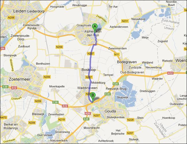 locatie van opslagruimte nabij Alphen a/d Rijn