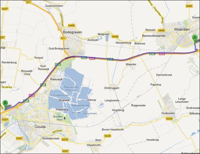 Locatie van opslagruimte nabij Woerden
