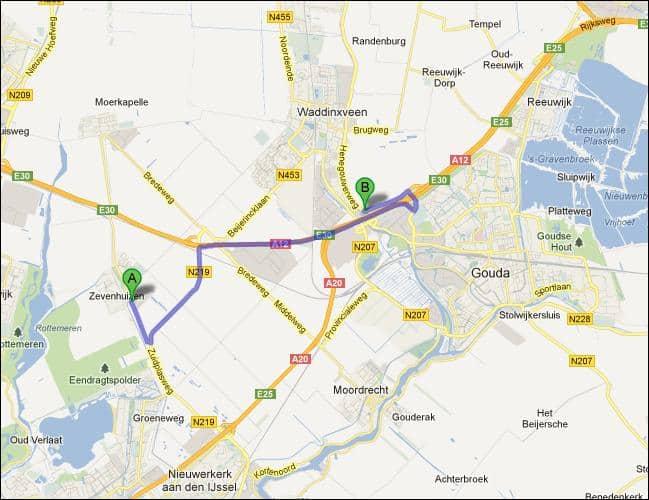 Locatie van opslagruimte nabij Zevenhuizen Moerkapelle