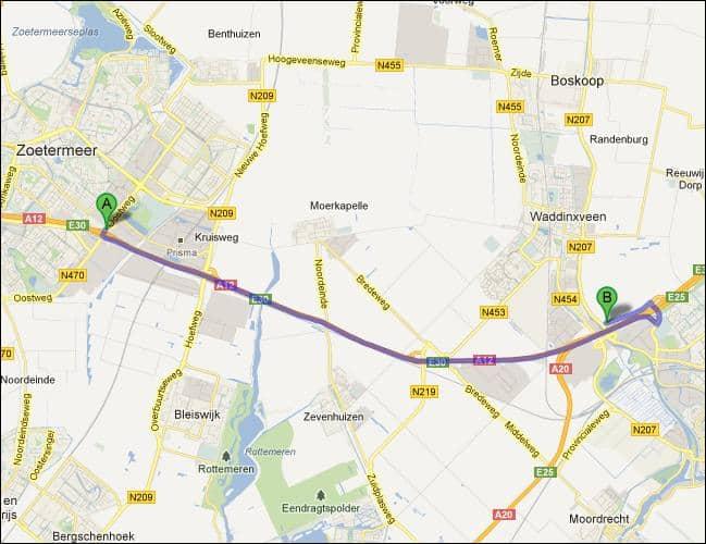 Locatie van opslagruimte nabij Zoetermeer